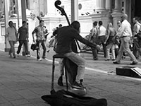 a street cellist in Venice